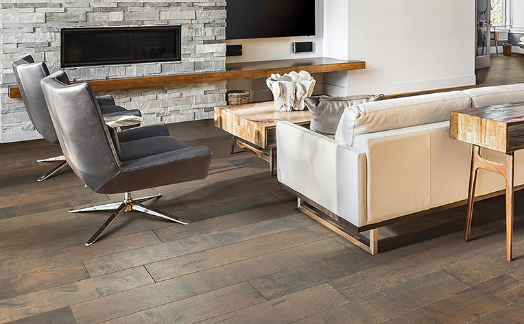 Engineered hardwood flooring in a living room